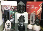 A selection of books and buddhas available