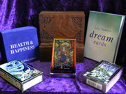 A selection of Tarot Cards and interpretation books